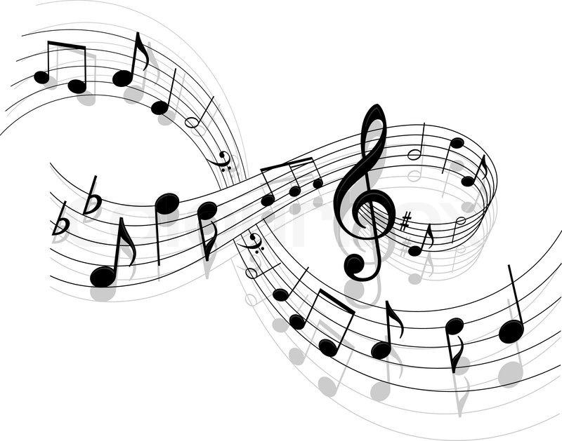 Notes mit Musik Elemente als musikalischer Hintergrund