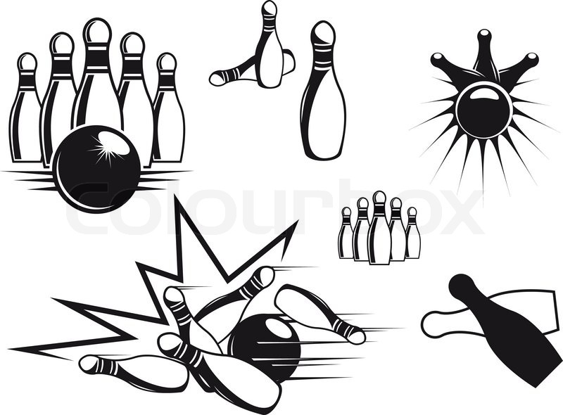 Bowling symbols set isolated on white for sports design
