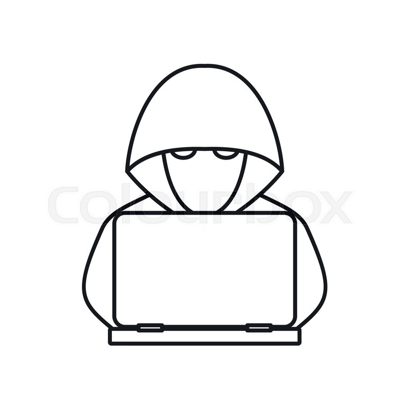 Computer hacker with laptop icon in outline style isolated