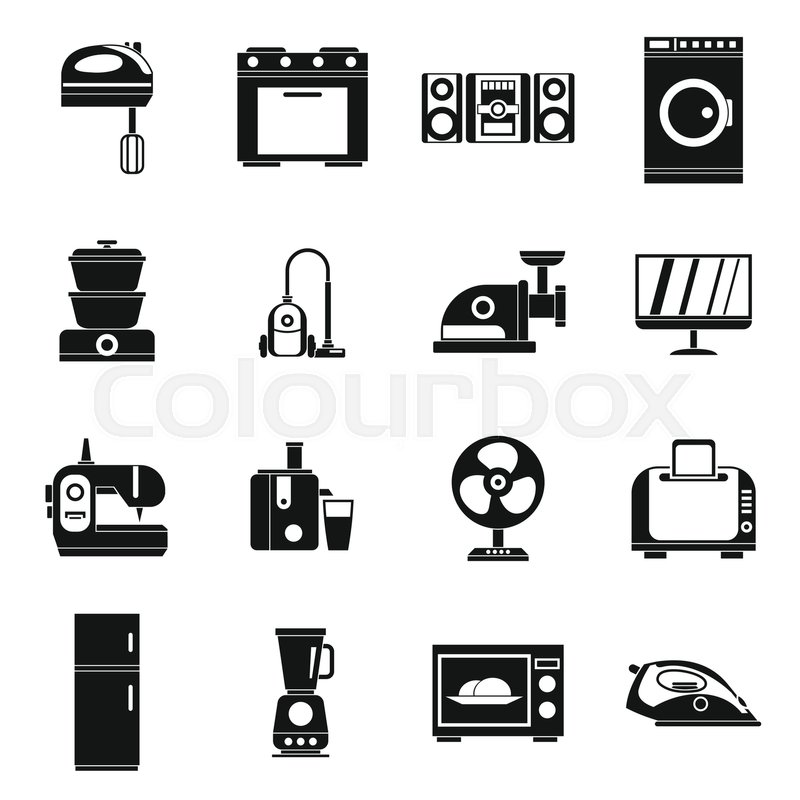Household appliances icons set in simple style. Home