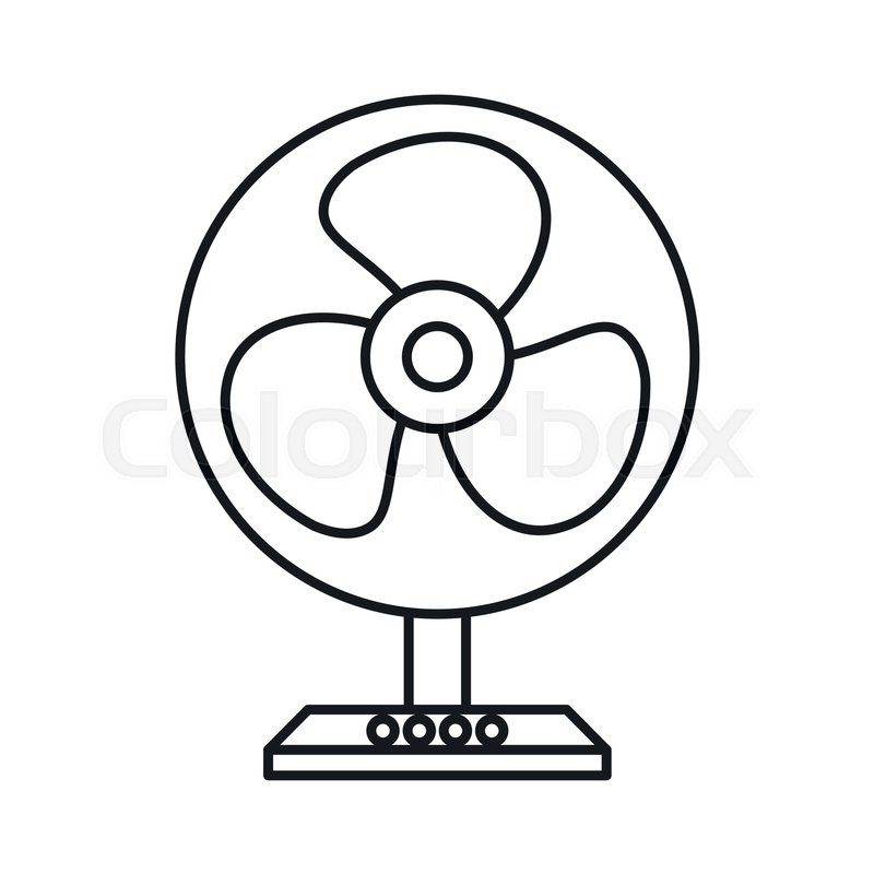 Electric table fan icon in outline style isolated on white