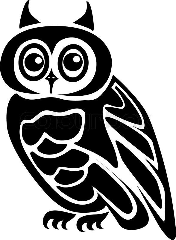 Beautiful isolated owl on background as a symbol  Stock