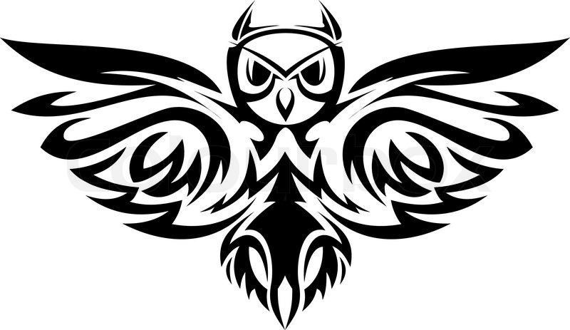 Black owl symbol isolated on white as a wisdom concept