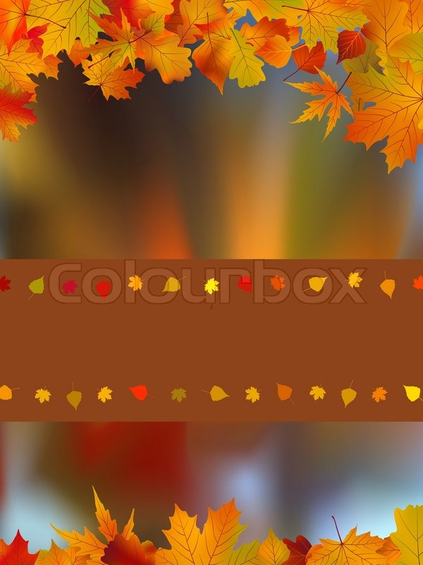 Thank You Card On A Bright Autumn Background Of Leaves Stock Vector Colourbox
