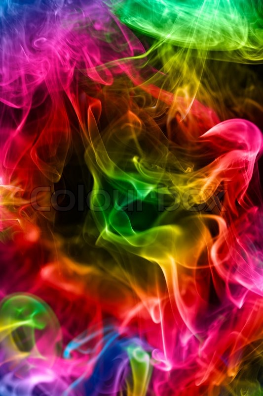 Multicoloured smoke on a black   Stock image  Colourbox