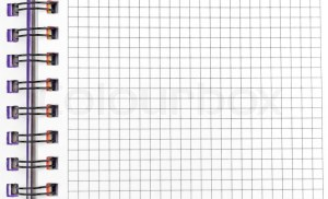 Open notebook with pages in a grid with binding | Stock