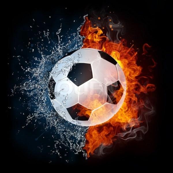 Fuball In Feuer Und Wasser. 2d . Stockfoto Colourbox