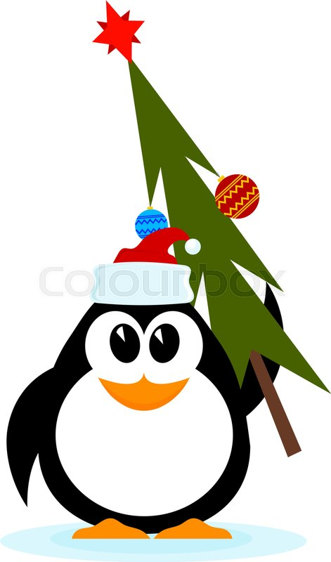 Cute Merry Christmas Wallpaper 2016 Little Cheerful Penguin With Christmas Tree In Hat Of