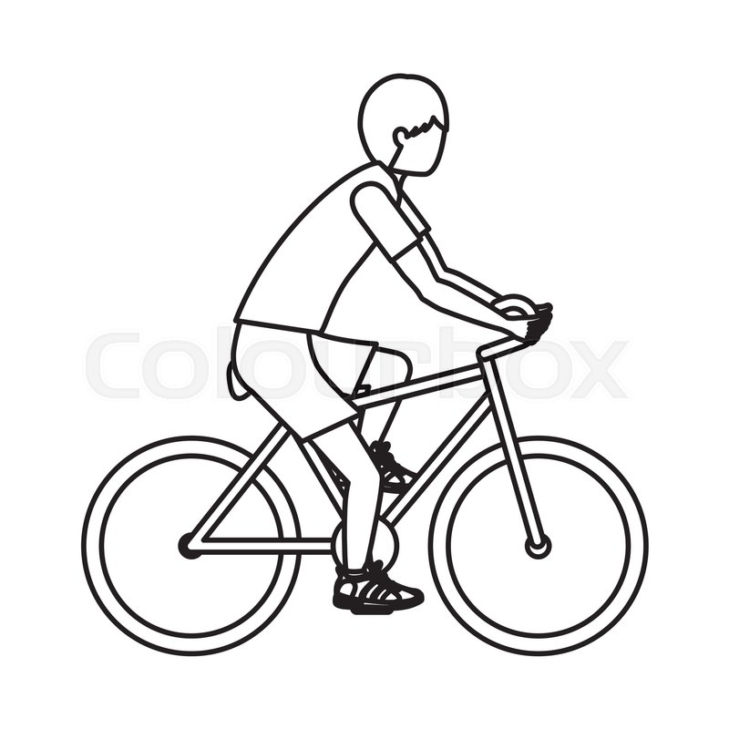 Boy riding bike icon. Sport hobby and training theme