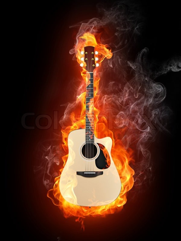 Acoustic Guitar in Fire Flame Isolated on Black Background