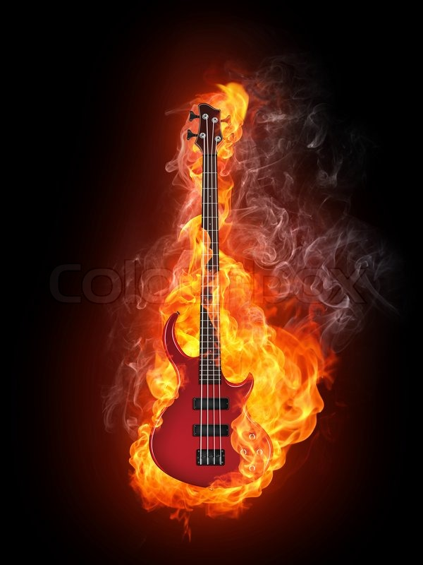 Girl Playing Guitar Hd Wallpapers Electric Bass Guitar In Fire Isolated On Black Background