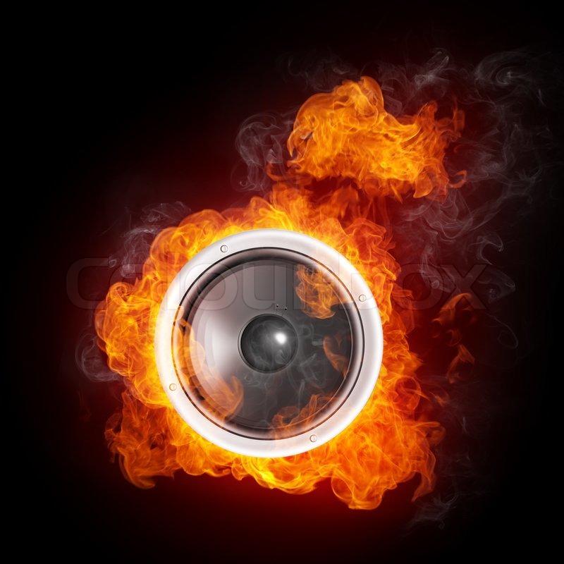 Dj Movie Hd Wallpaper Loudspeaker On Fire Isolated On Black Stock Image