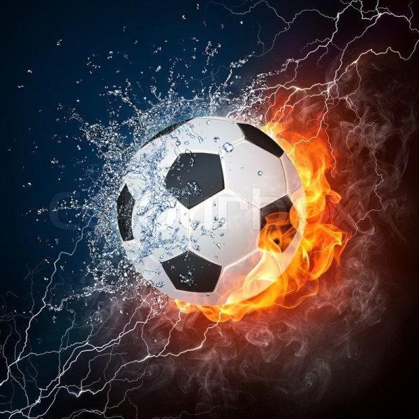 Soccer Ball Fire And Water. 2d . Stock