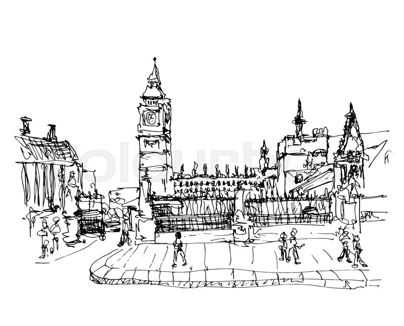 Black and white ink sketch drawing of famous place in