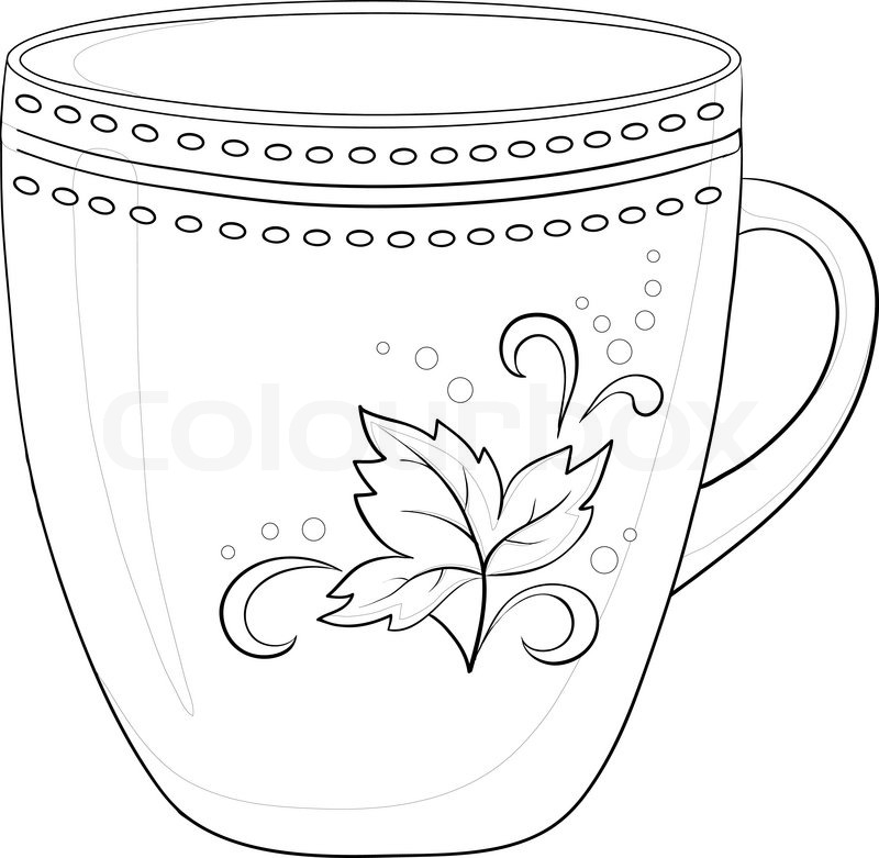 China cup with a pattern from circles and leaf, contour