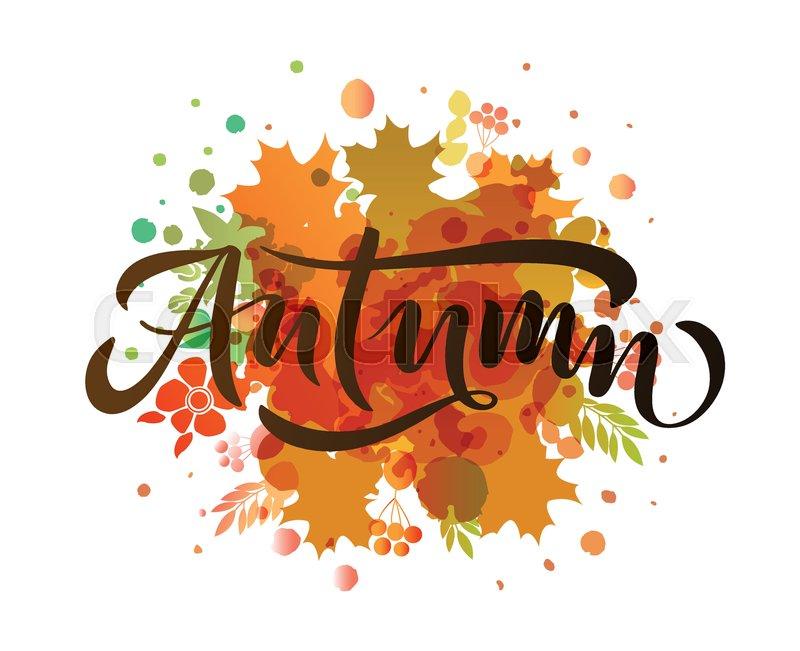 Fall Pumpkin Computer Wallpaper Autumn Lettering Typography Modern Stock Vector