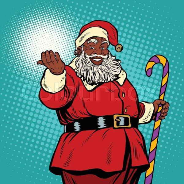 African American Black Santa Claus . Stock Vector