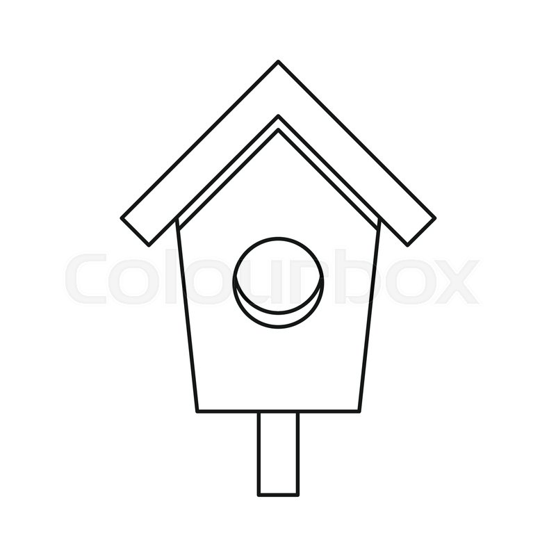 Birdhouse nesting box icon in outline style isolated on