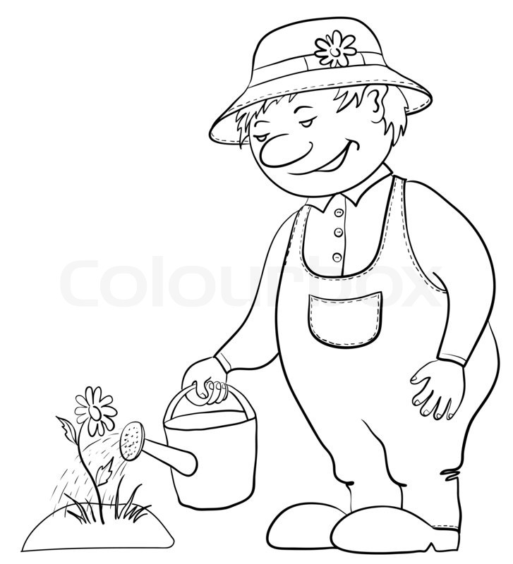 Man gardener waters a bed with a flower from a watering