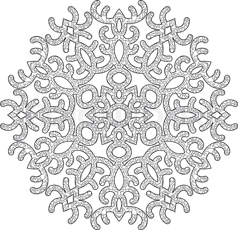 Hand drawn antistress snowflake. Tracery template in