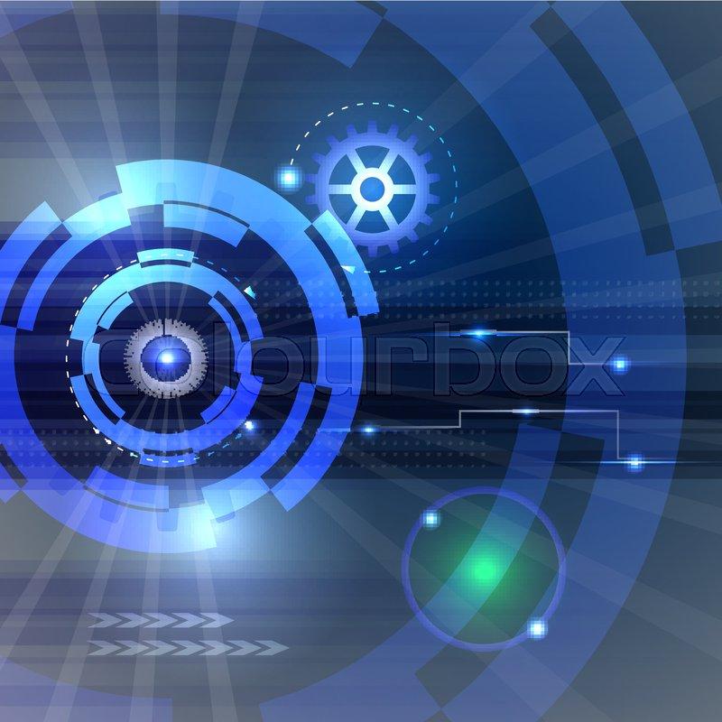 Electric Blue Wallpaper Hd Hi Tech Technology Background Tech Vector Illustration