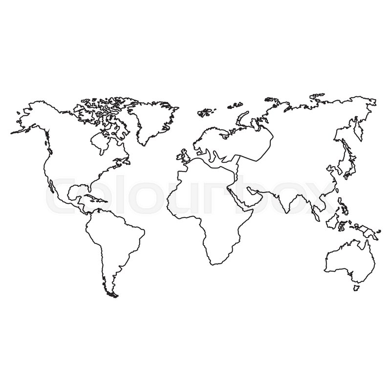Silhouette of world map icon. atlas worldwide over white