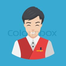 Hotel Staff - Waiter Icon Vector Flat . Stock
