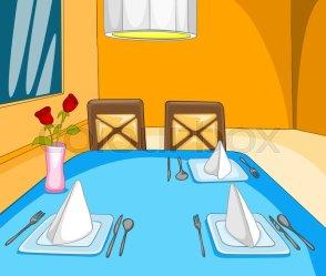 Hand drawn cartoon of restaurant Stock image Colourbox
