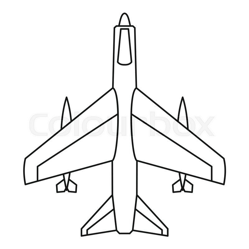 Armed fighter jet icon. Outline illustration of armed