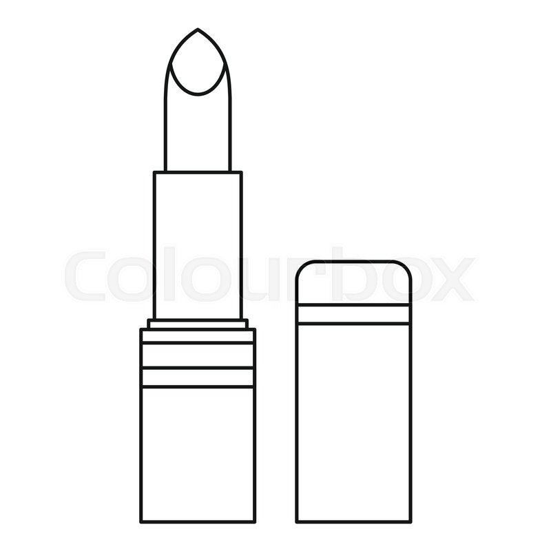 Lipstick icon. Outline illustration of lipstick vector