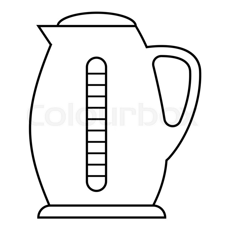 Plastic electric kettle icon. Outline illustration of