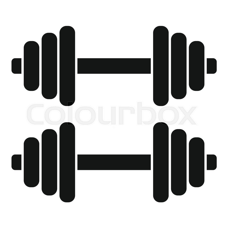 two dumbbells icon simple