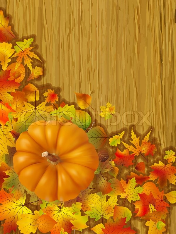 Fall Leaves Falling Wallpaper Fall Leaves With Orange Gourd On Brown Background Fall