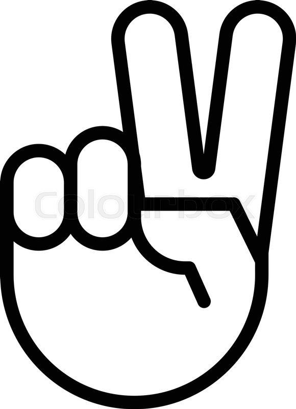 Sign of victory. The gesture of the hand. Two fingers