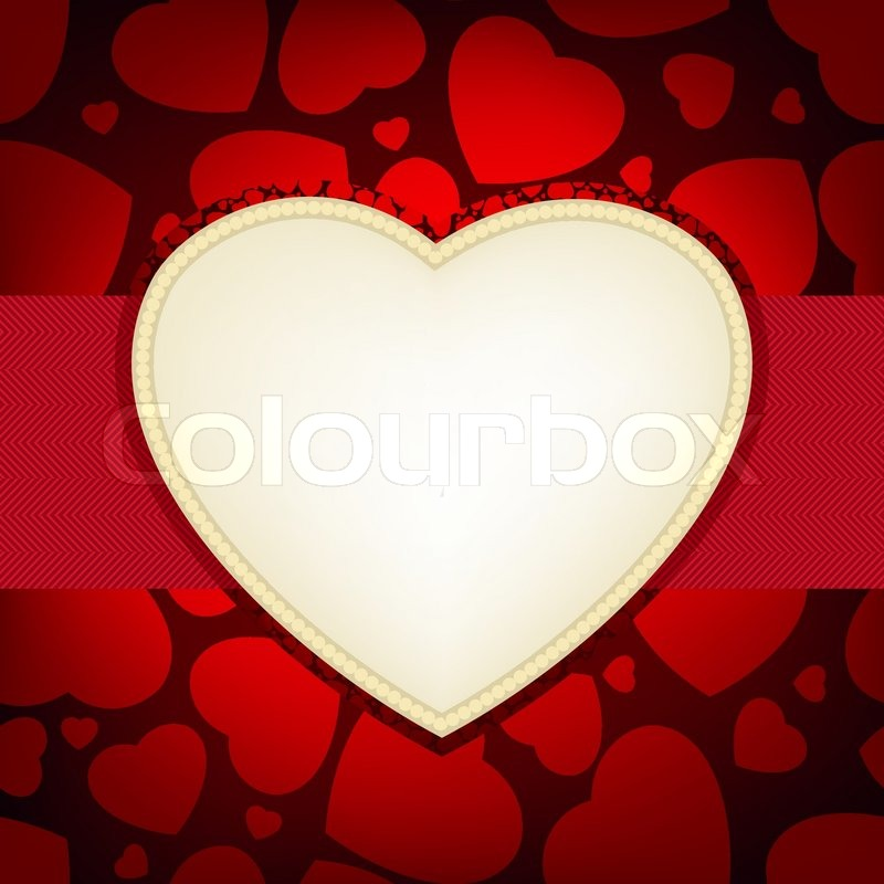Valentine Day Card Heart Frame Card Stock Vector