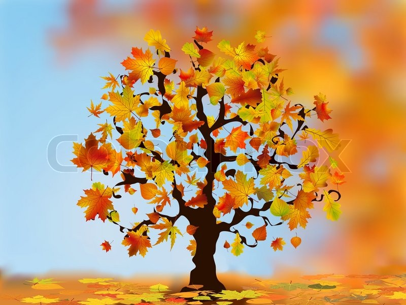 Falling Maple Leaves Wallpaper Beautiful Autumn Tree For Your Design Eps 8 Vector File