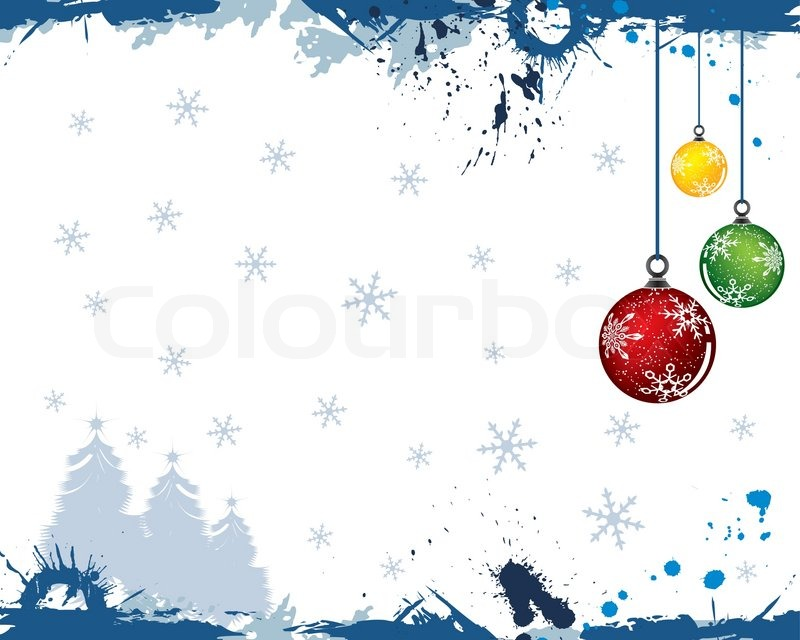 Grunge Paint Christmas Background With Tree Amp Baubles