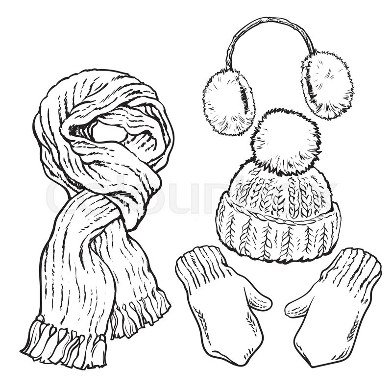 Set of bright knotted scarf, hat, ear muffs and mittens