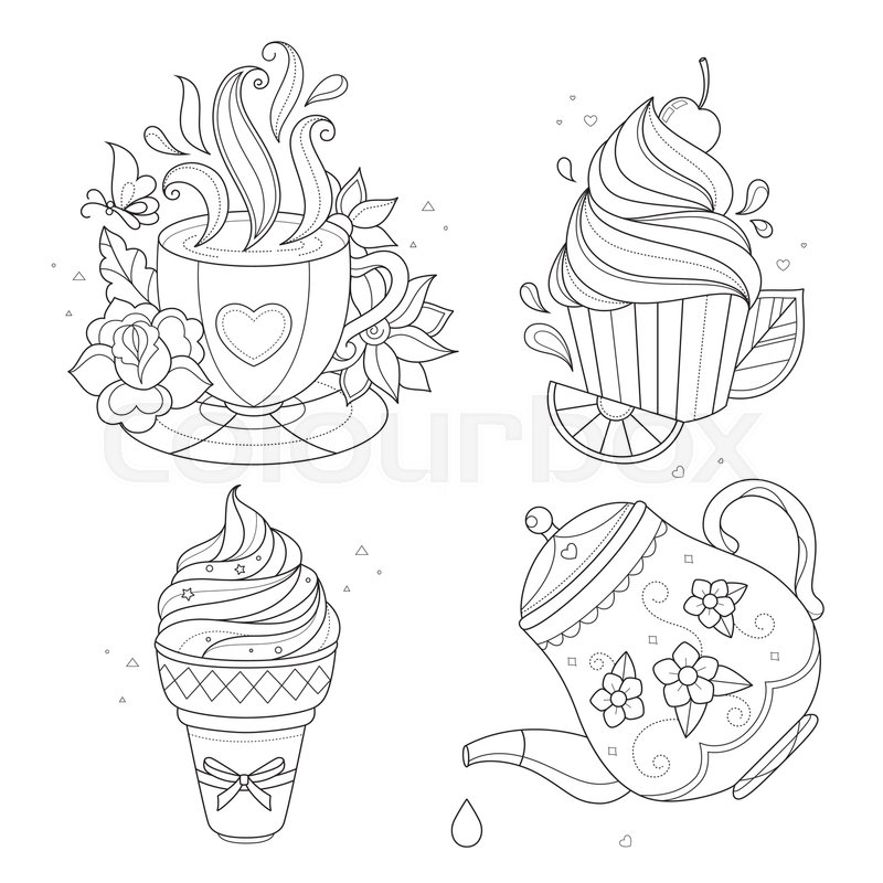 Tea Cup With Spoon Drawing Sketch Coloring Page