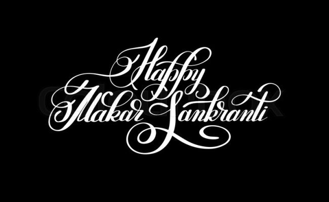 Happy Makar Sankranti Handwritten Lettering Inscription To