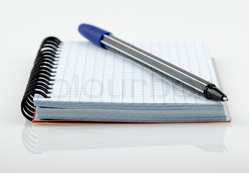 Notepad And Pen On White Background Stock Photo Colourbox