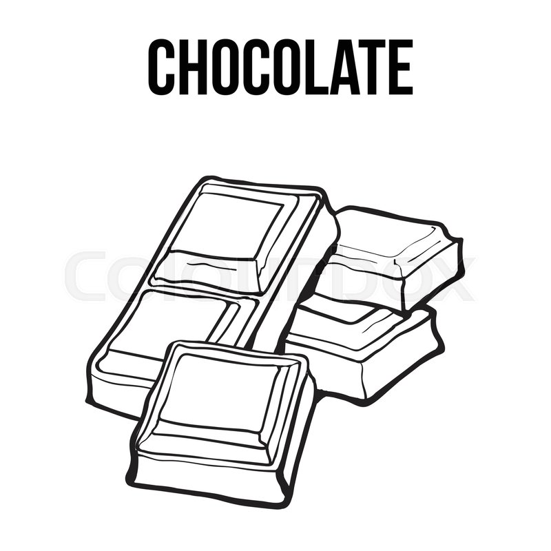 Pieces of black and white chocolate bar, sketch style