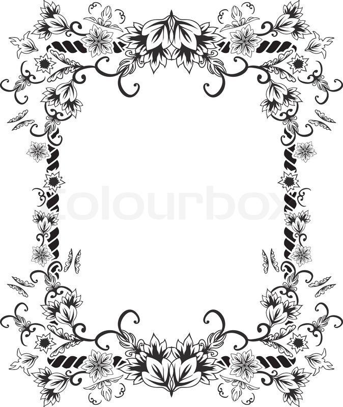 Verzierten Rahmen mit Blumen und   StockVektor