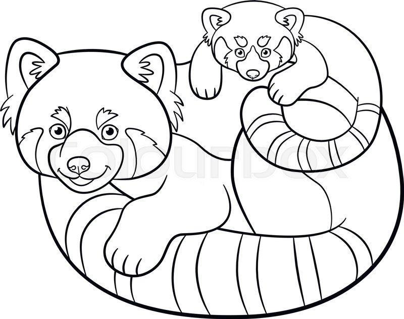 Coloring Pages Mother Red Panda With Stock Vector Colourbox
