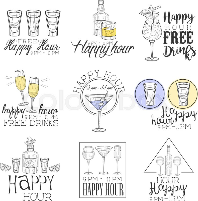 Cocktail Bar Happy Hour Promotion Sign Design Template