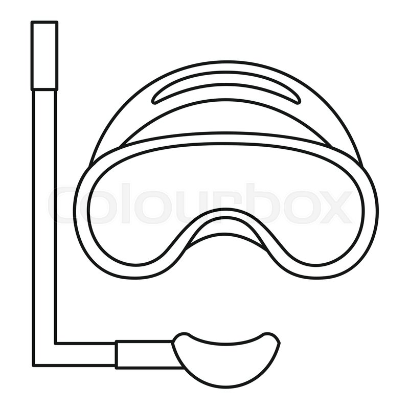Scuba mask and snorkel icon. Outline illustration of scuba