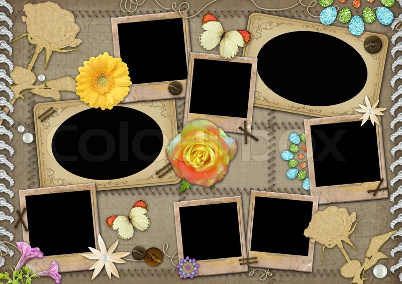 Template Border Butterfly Antique