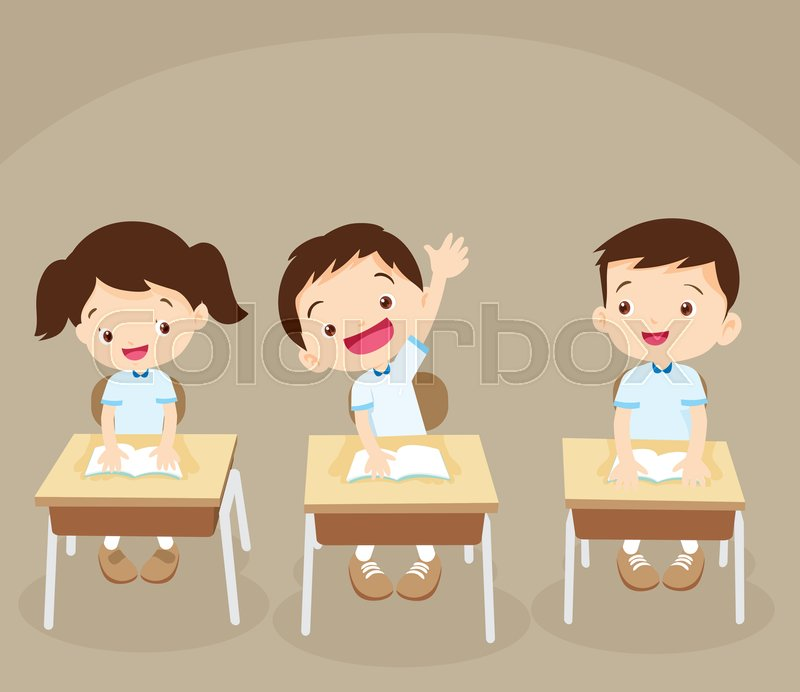 study table and chair for kids director covers black children sitting at school desk hand up to answer.pupil raising in class. | stock ...