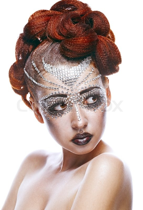 Beauty Woman In Futuristic Makeup Isolated Over White