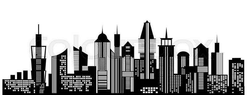 Cityscape black icon on white   Stock vector  Colourbox